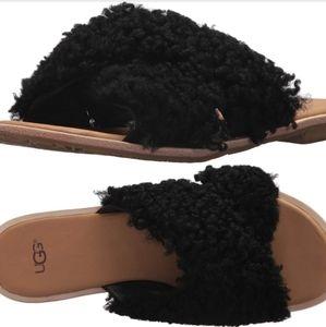 NWOT UGG Joni Black Lamb Fur Sandal